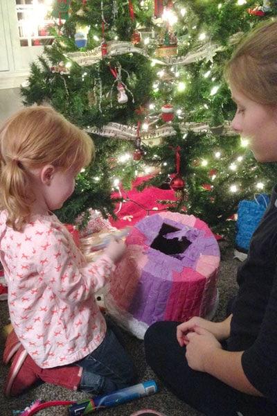 Wrap a present in a piñata!