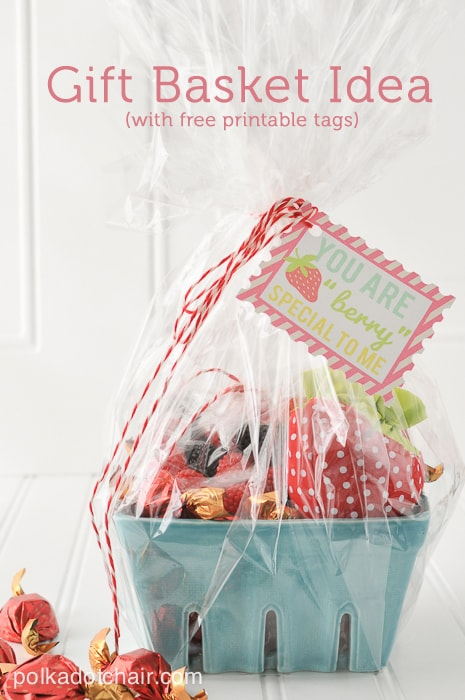 Strawberry Gift Basket Idea and free printable tags on polkadotchair.com