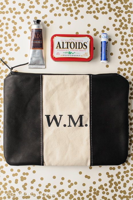 Monogrammed Leather Zip Pouch Tutorial