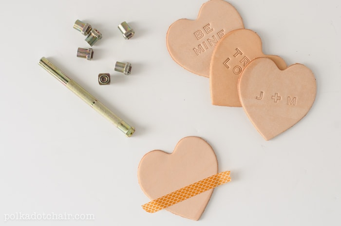 DIY Leather Conversation Hearts