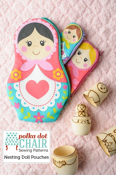 Nesting Dolls Zip Pouch Pattern, includes printable Matryoshka Dolls