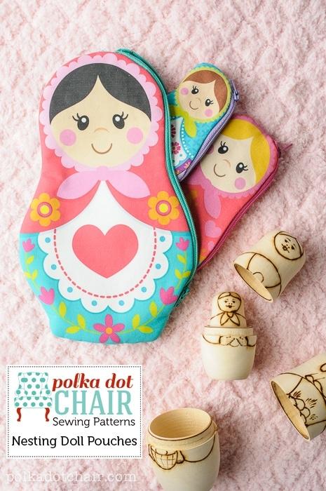 Nesting Dolls Zip Pouches, a Matryoshka Doll Pattern