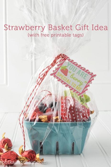 Strawberry Gift Basket Idea and free printable tags on polkadotchair.com