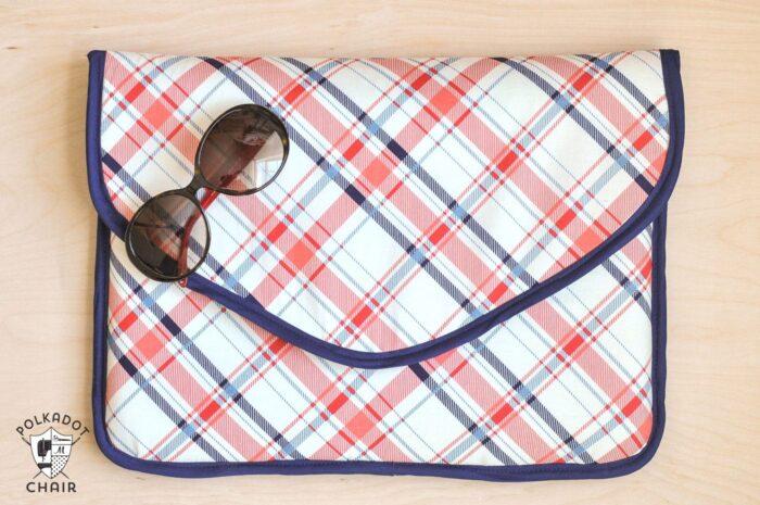 DIY Laptop Sleeve Clutch Sewing Pattern on Polka Dot Chair
