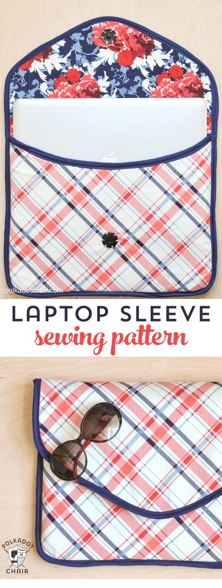 Free Padded Laptop Sleeve Clutch Sewing Pattern on polkadotchair.com