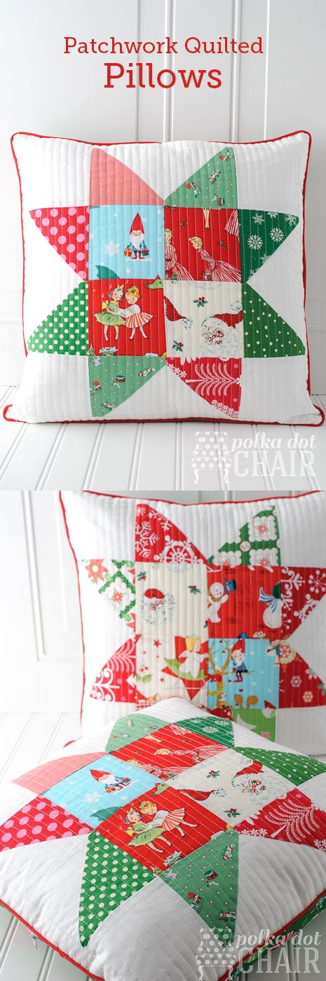 Patchwork Quilted Christmas Pillow Tutorial