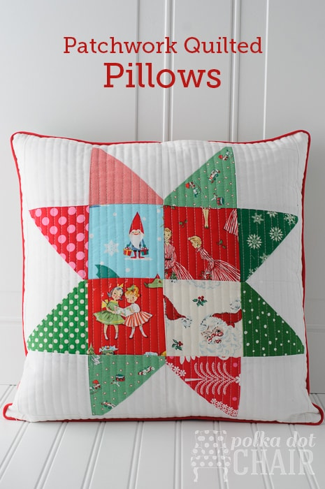 Patchwork Quilted Star Pillows on polkadotchair.com