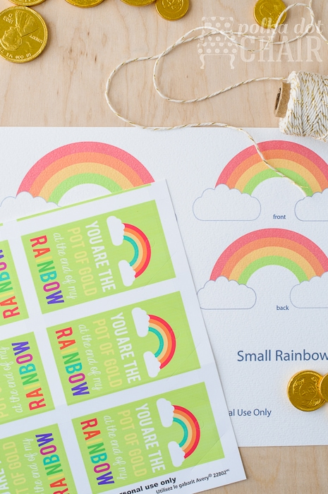 Free Printable Pot of Gold and Rainbow Tags