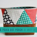Polka Dot & Leather Zip Pouch by Knitty Bitties