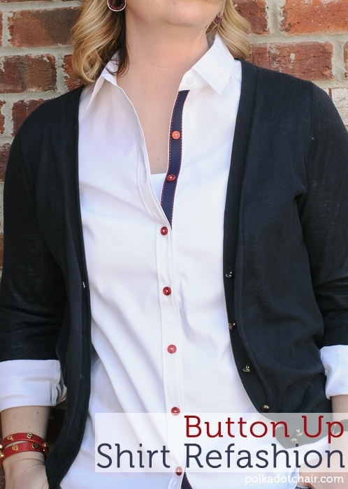 Button Up Shirt Refashion on polkadotchair.com