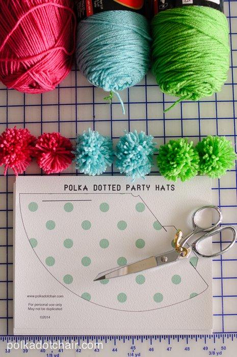 DIY Printable Pom Pom Polka Dot Party Hats