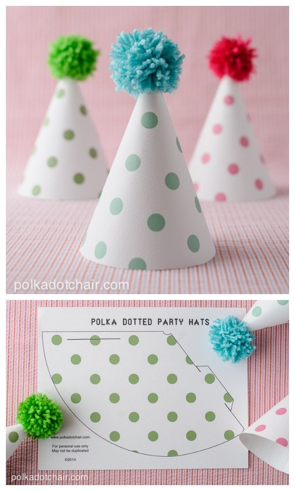 Polka Dot Party Hats Printable