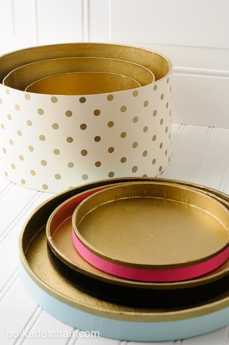 DIY Gold Polka Dot Hat Boxes on polkadotchair.com