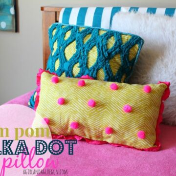 Pom Pom Polka Dot Pillow by A Girl and a Glue Gun