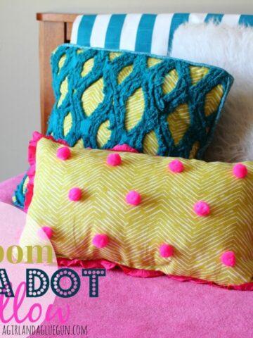 Pom Pom Polka Dot Pillow by a Girl and a Glue Gun