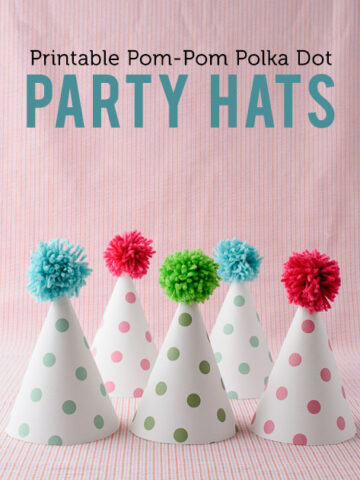 Printable Pom Pom Polka Dot Party Hats on polkadotchair.com