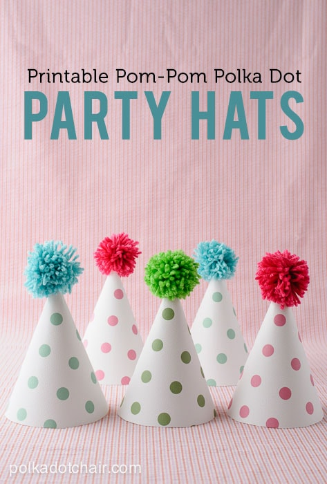 Printable Pom Pom Polka Dot Party Hats