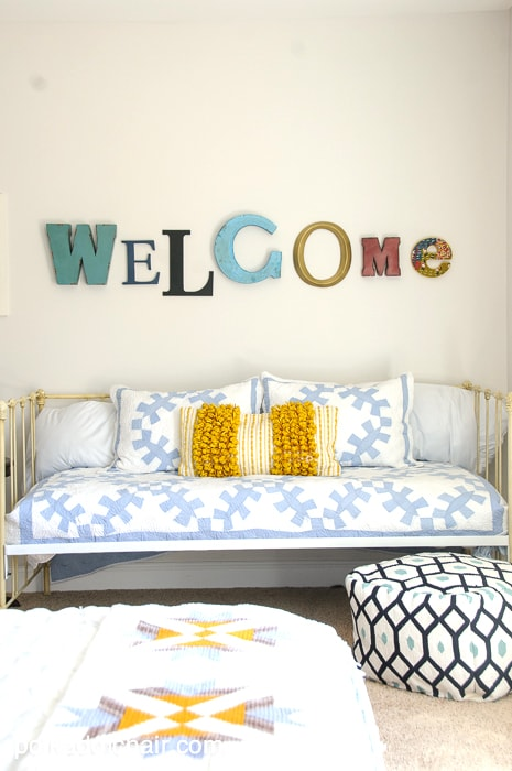 Navy + Gold Guest Bedroom Decorating Ideas on polkadotchair.com