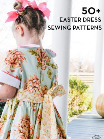 Title image of easter dress patterns for girls- back of aqua dress
