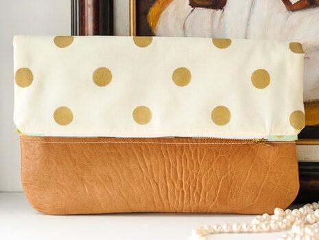 Polka Dot Fold Over Clutch Tutorial (with custom stenciled fabric)