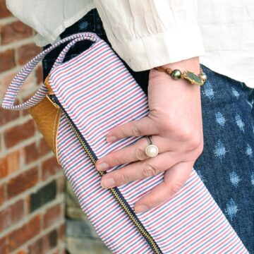 Seersucker & Leather Clutch by Melissa Mortenson of polkadotchair.com