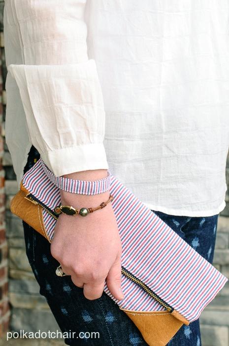 Seersucker & Leather Clutch by Melissa Mortenson of polkadotchair.com