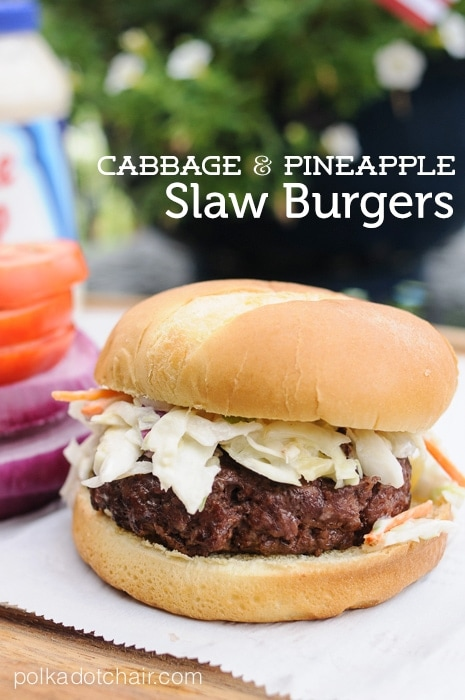 Cabbage and Pineapple Slaw Burger Recipe on polkadotchair.com