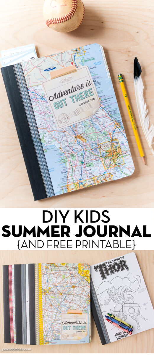 kids composition notebook with map cover on wood table