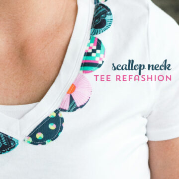 Dress up a simple white t-shirt with a bit of fabric using this DIY scallop neck t-shirt refashion DIY