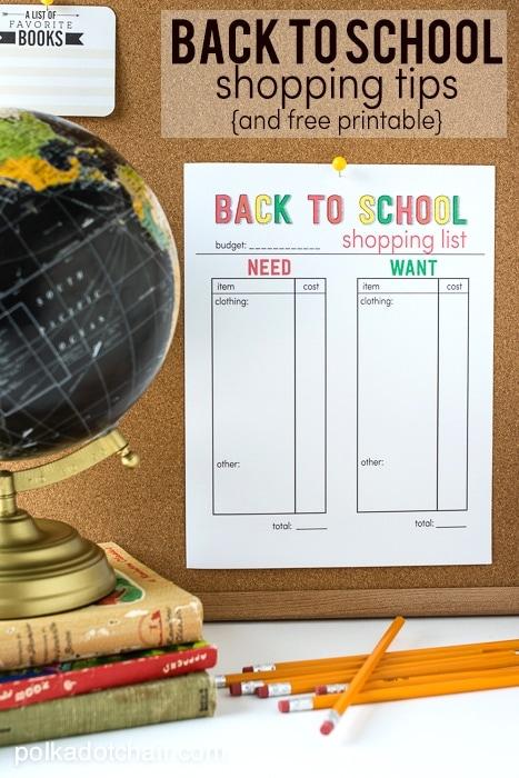 Back to School Shopping Tips and Free Printable Shopping List on polkadotchair.com