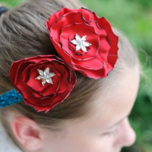 DIY Glitter Rose Headband on polkadotchair.com