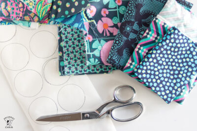 fabric scraps on white table