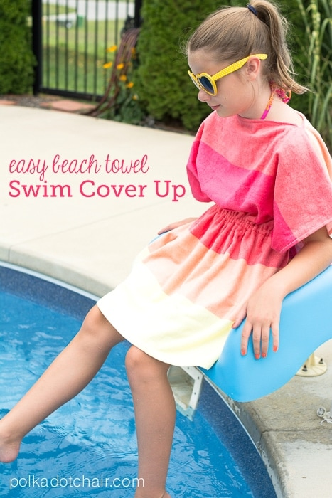 Easy Beach Towel Kids Swimsuit Cover Up Sewing Tutorial
