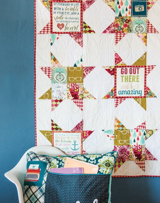 """You can do it"" Quilt - uses printable inspirational quotes for the block centers. From the Project Teen Book."