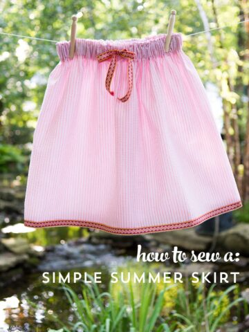 How to sew a simple skirt perfect for summer. A really cute as a seersucker skirt sewing tutorial!