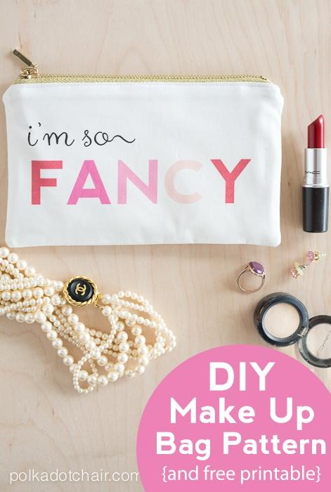 I\'m So Fancy, MakeUp Bag Pattern on Polka Dot Chair