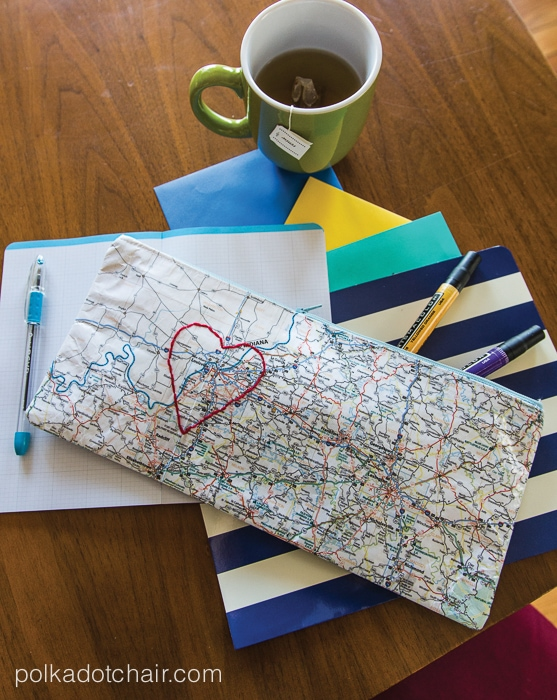 Laminated Map Zippered Heart Pouch