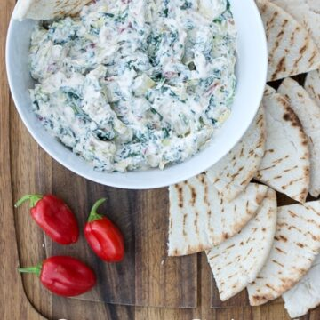 Creamy Spinach and Artichoke Dip Recipe on polkadotchair.com