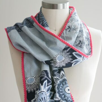 Pom Pom Patchwork Scarf Sewing tutorial - learn how to make a pom pom scarf - #sewingtutorial #scarftutorials #freesewingpatterns