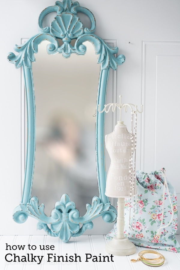 Easy Mirror refinish using Chalky Finish Paint on polkadotchair.com