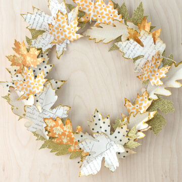 Use die cut paper leaves to create an Autumn wreath