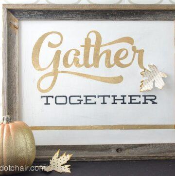 Gold Leaf Sign for Thanksgiving
