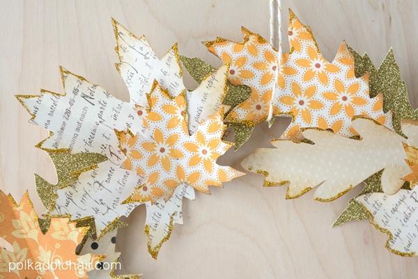 Use die cut paper leaves to create an Autumn wreath