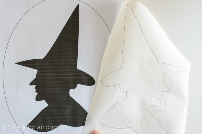 """Witches Silhouette"" A Halloween Pillow Pattern from polkadotchair.com"