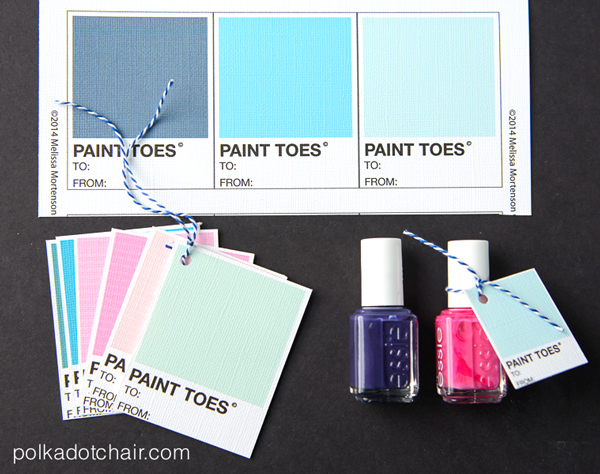 Nail Polish Gift idea with free printable gift tags on polkadotchair.com