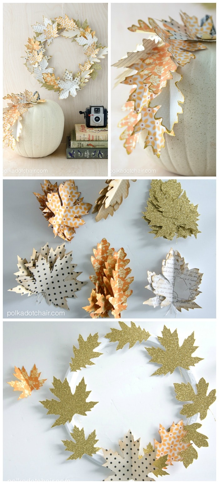 Use paper leaves to create a simple Fall wreath or as a elegant way to decorate a pumpkin for fall.