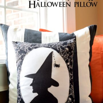 """Witch's Silhouette"" A Halloween Pillow Pattern from polkadotchair.com"