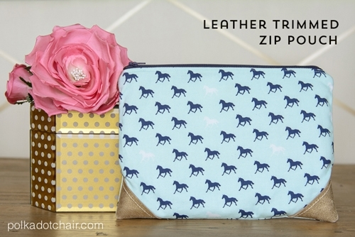 DIY Leather Trimmed Zippered Pouch Sewing Pattern and Tutorial. A great gift idea for a cute little travel bag for birthday or Christmas