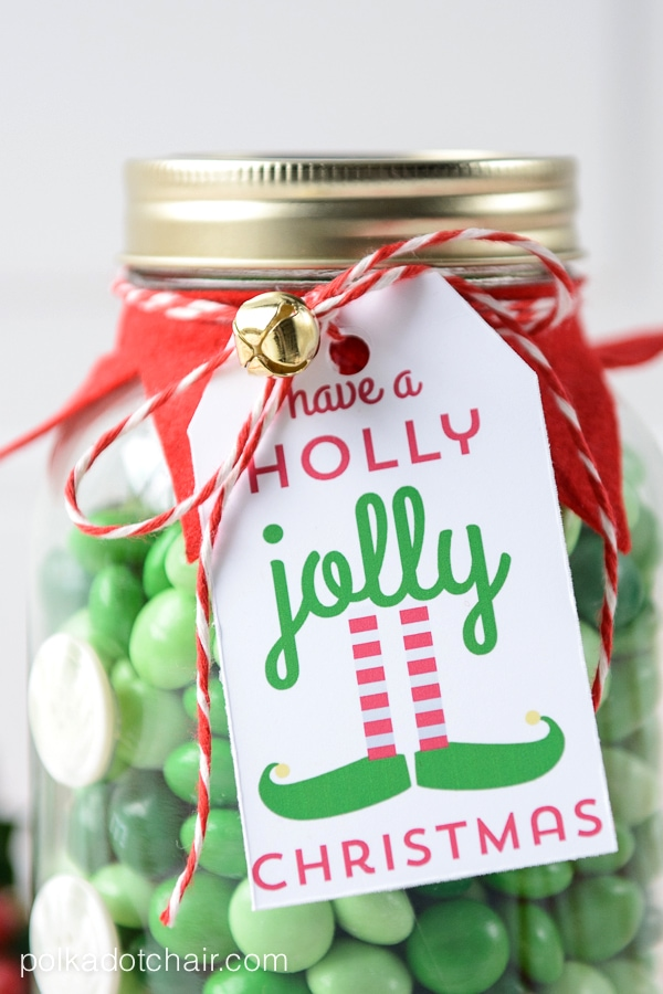 Elf Christmas Mason Jar Gift and free printable gift tag