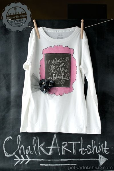 DIY Chalk Art Valentine's Day T-Shirt for kids
